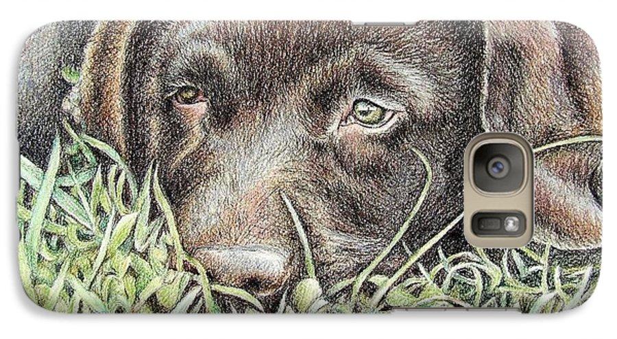 Dog Galaxy S7 Case featuring the pastel Labrador Puppy by Nicole Zeug