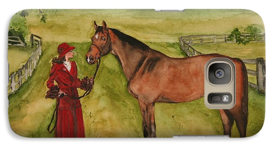 Horse Galaxy S7 Case featuring the painting Lady And Horse by Jean Blackmer