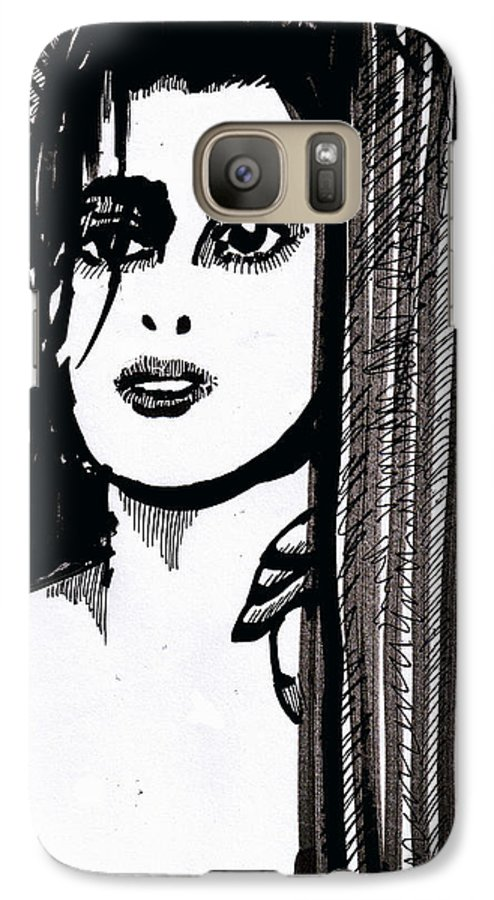 Sad Lady Galaxy S7 Case featuring the drawing Lady At The Door by Seth Weaver