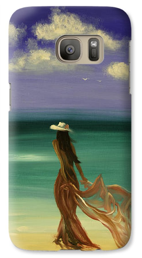 Nice Galaxy S7 Case featuring the painting Lady In Red by Gina De Gorna
