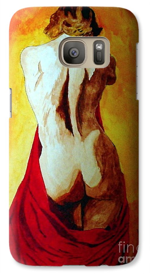 Nude Red Lady In Red Galaxy S7 Case featuring the painting Lady In Red by Herschel Fall