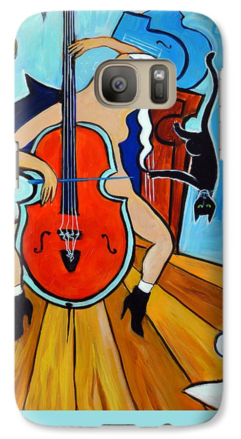 Musicians Galaxy S7 Case featuring the painting Lady In Red by Valerie Vescovi