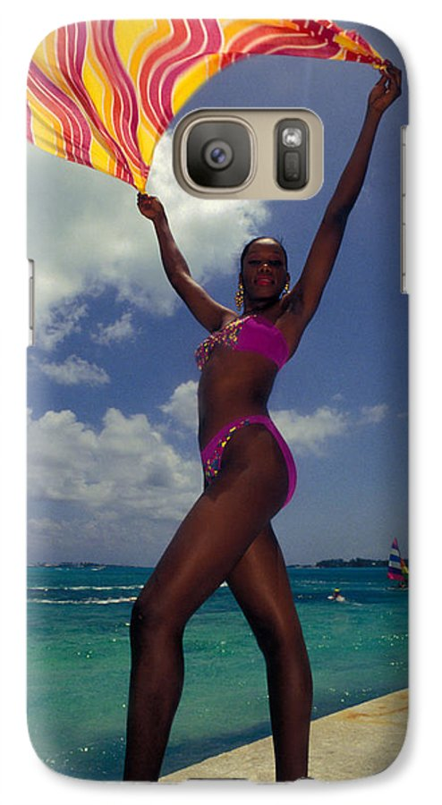 Black Galaxy S7 Case featuring the photograph Lady In The Wind by Carl Purcell
