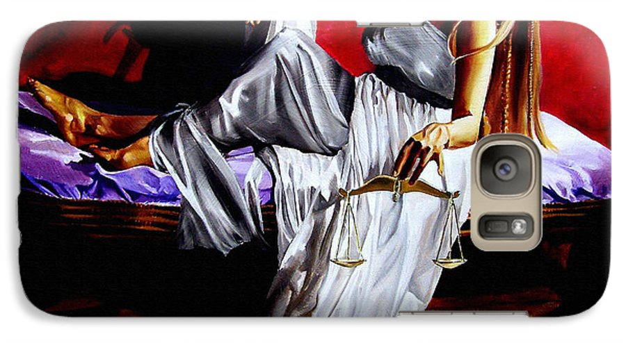 Law Galaxy S7 Case featuring the painting Lady Justice by Laura Pierre-Louis