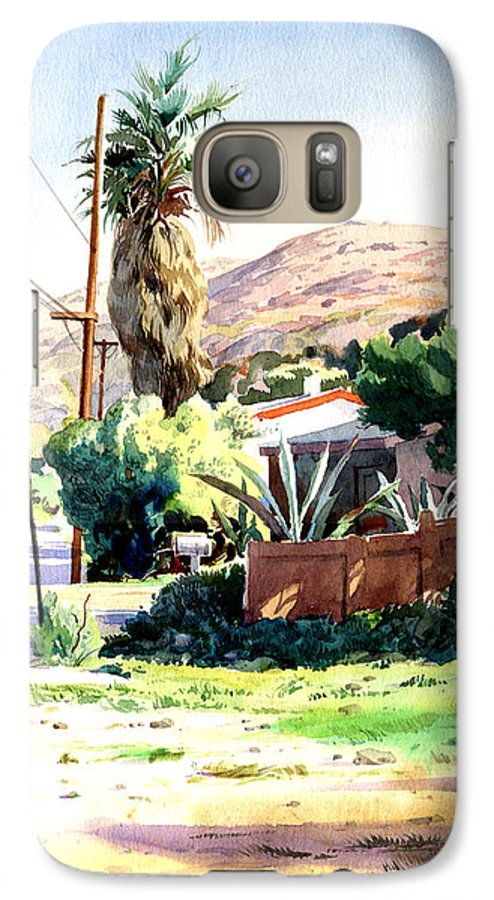 Watercolor Galaxy S7 Case featuring the painting Laguna Canyon Palm by John Norman Stewart
