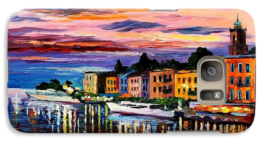 Cityscape Galaxy S7 Case featuring the painting Lake Como - Bellagio by Leonid Afremov