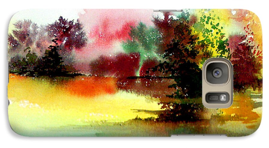 Nature Galaxy S7 Case featuring the painting Lake In Colours by Anil Nene