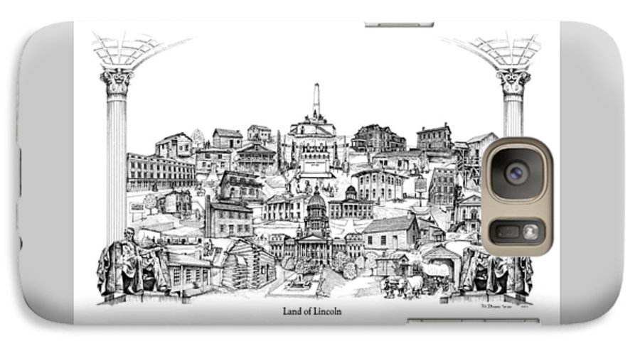City Drawing Galaxy S7 Case featuring the drawing Land Of Lincoln by Dennis Bivens