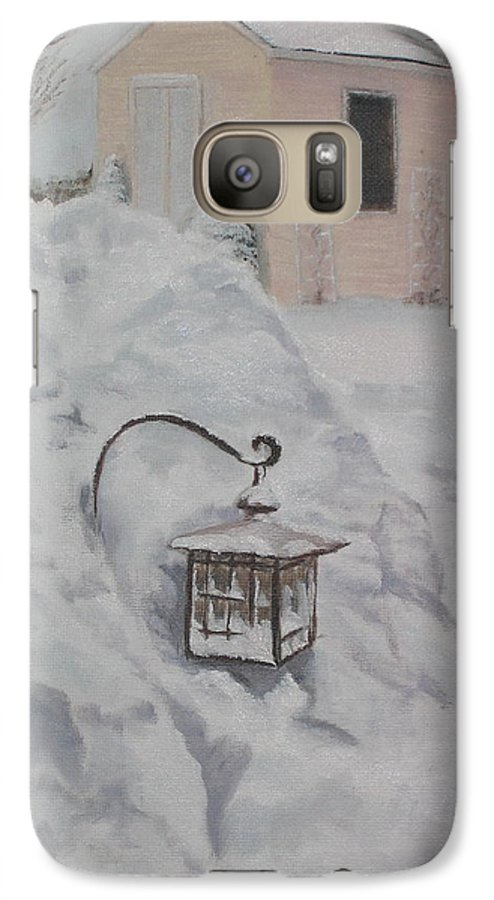 Snow Galaxy S7 Case featuring the painting Lantern In The Snow by Lea Novak