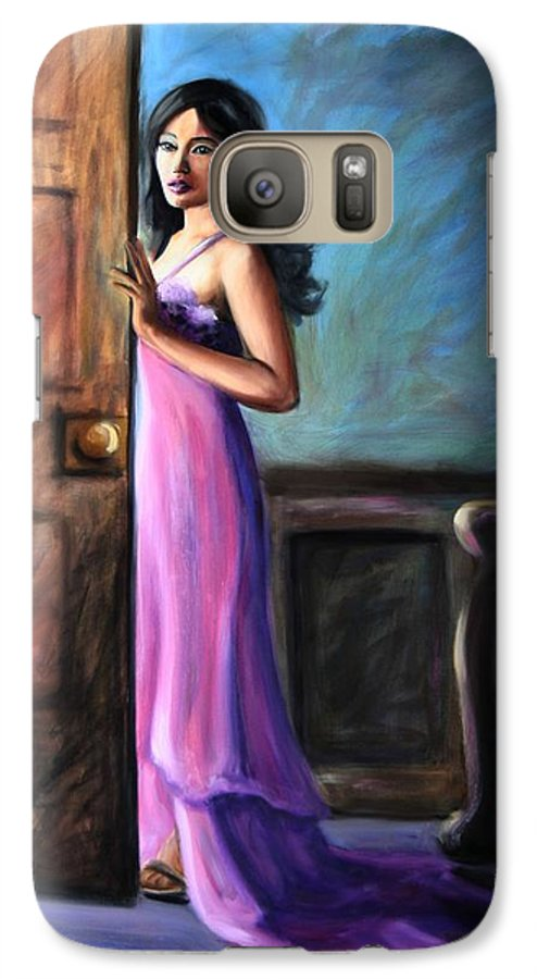 Woman Galaxy S7 Case featuring the painting Last Glance by Maryn Crawford