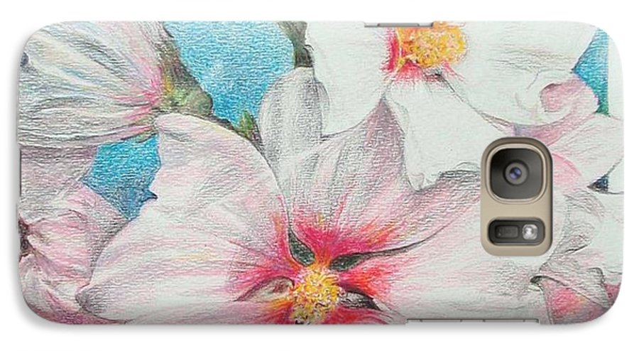 Flower Galaxy S7 Case featuring the painting Lavater by Muriel Dolemieux