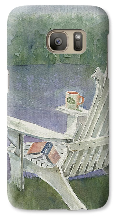 Chair Galaxy S7 Case featuring the painting Lawn Chair By The Lake by Arline Wagner