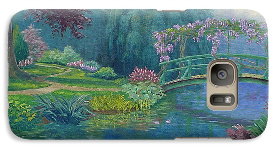 Landscape Galaxy S7 Case featuring the painting Le Pont Japonais by Tan Nguyen
