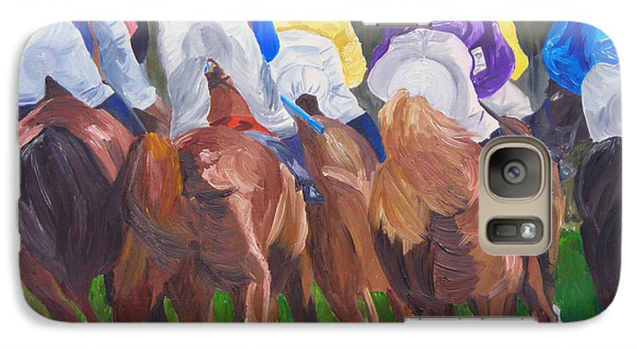 Horse Racing Galaxy S7 Case featuring the painting Leading The Pack by Michael Lee