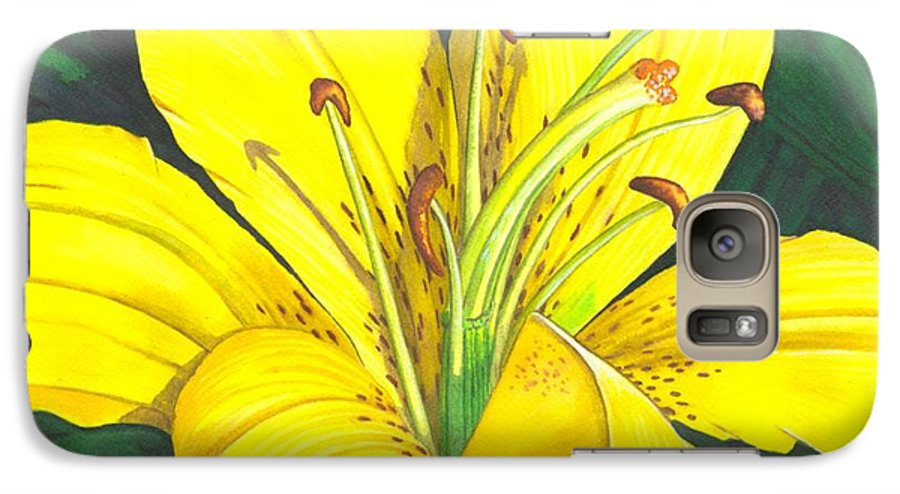 Lily Galaxy S7 Case featuring the painting Lemon Lily by Catherine G McElroy