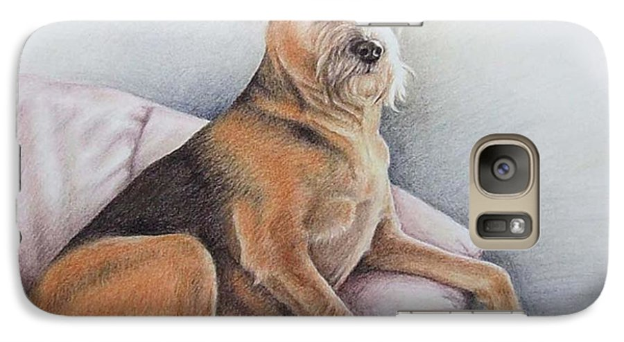 Dog Galaxy S7 Case featuring the pastel Lena by Nicole Zeug