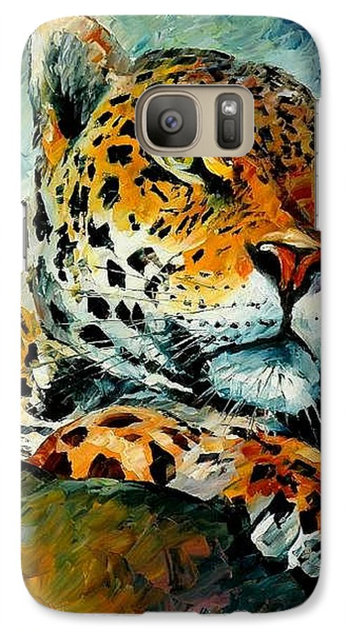 Animals Galaxy S7 Case featuring the painting Leopard by Leonid Afremov