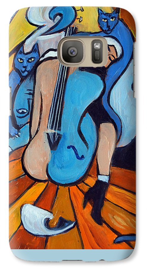 Cubic Abstract Galaxy S7 Case featuring the painting Les Chats Bleus by Valerie Vescovi