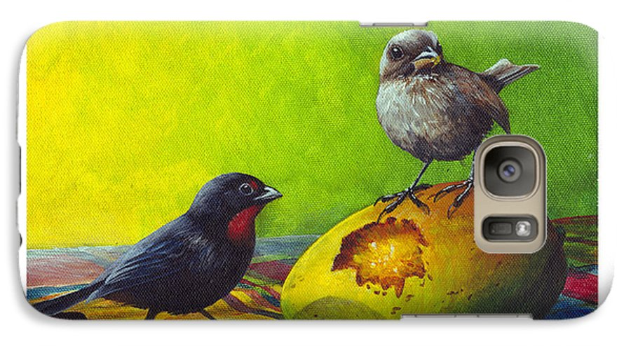 Chris Cox Galaxy S7 Case featuring the painting Lesser Antillean Bullfinches And Mango by Christopher Cox