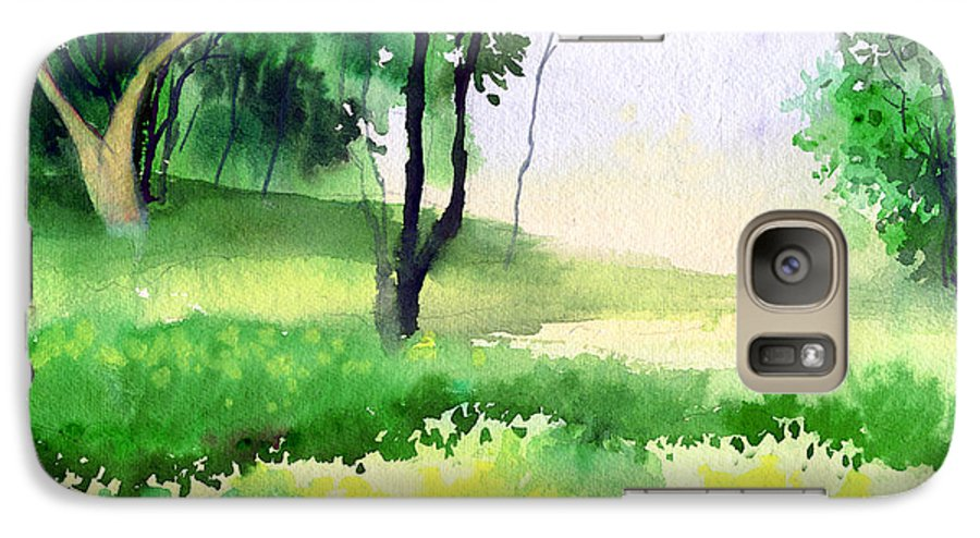 Watercolor Galaxy S7 Case featuring the painting Let's Go For A Walk by Anil Nene