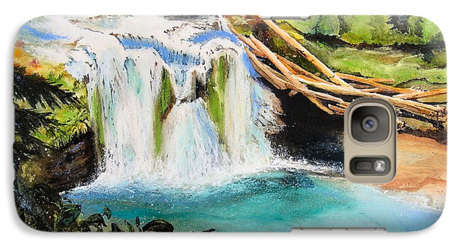 Water Galaxy S7 Case featuring the painting Lewis River Falls by Karen Stark