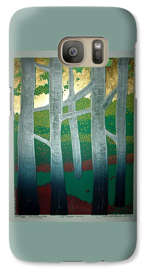 Landscape Galaxy S7 Case featuring the mixed media Light Between The Trees by Jarle Rosseland