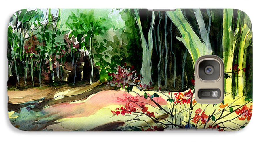 Watercolor Galaxy S7 Case featuring the painting Light In The Woods by Anil Nene