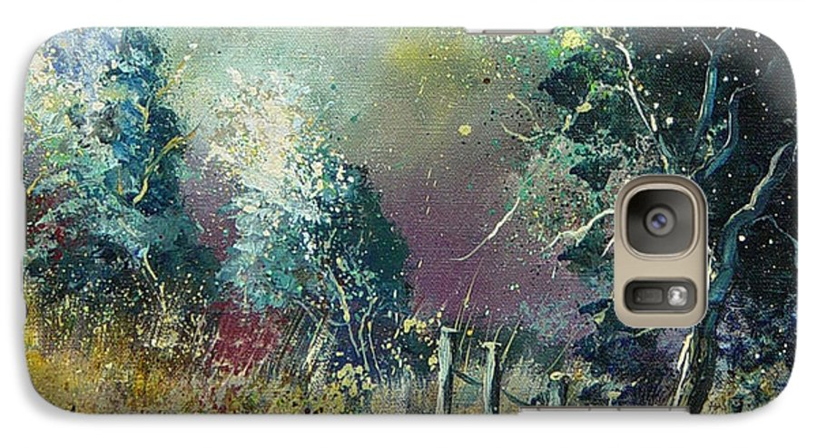 Landscape Galaxy S7 Case featuring the painting Light On Trees by Pol Ledent