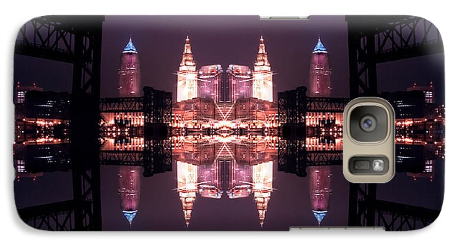 Cleveland Galaxy S7 Case featuring the photograph Lights Buildings And Bridges by Kenneth Krolikowski