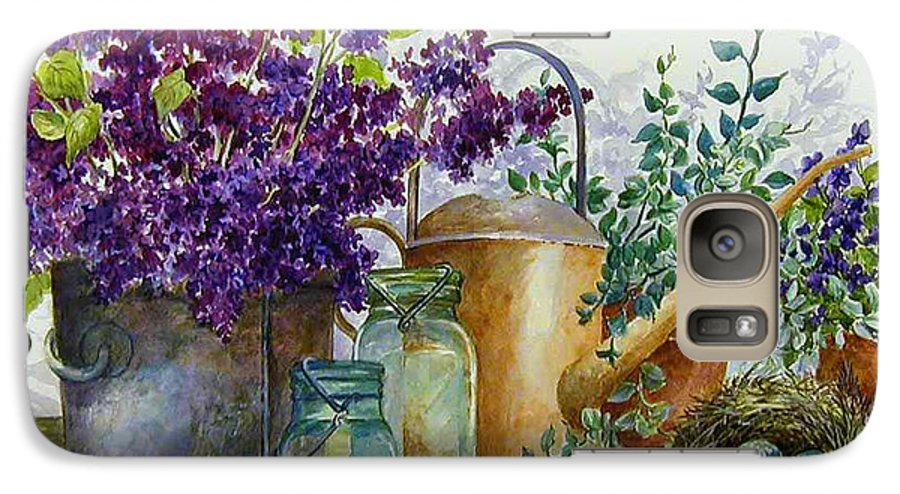 Still Life;lilacs; Ball Jars; Watering Can;bird Nest; Bird Eggs; Galaxy S7 Case featuring the painting Lilacs And Ball Jars by Lois Mountz
