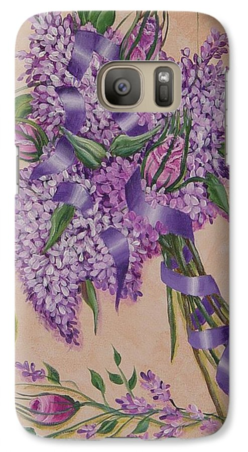Lilacs Galaxy S7 Case featuring the painting Lilacs by Quwatha Valentine