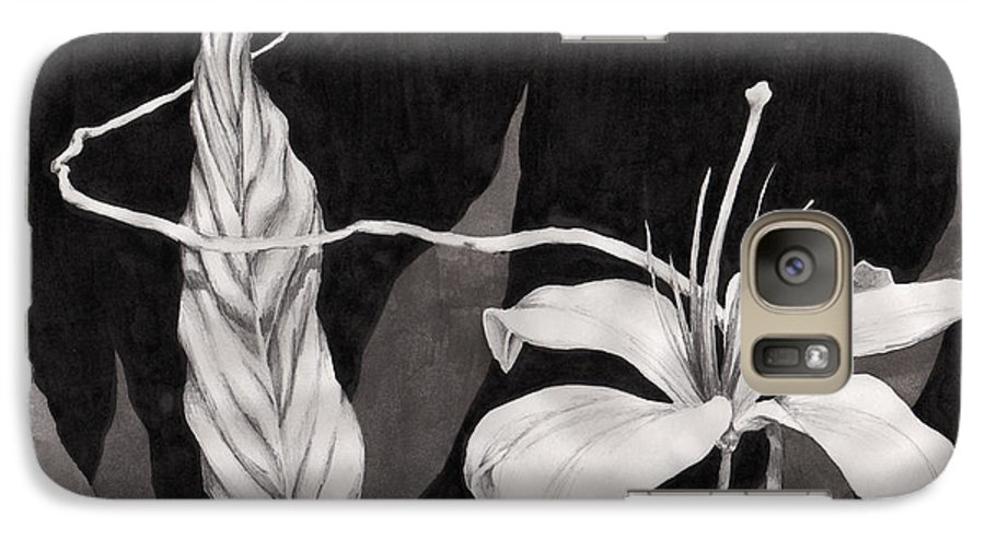 Ink Painting Galaxy S7 Case featuring the drawing Lily In The Night by Jennifer McDuffie