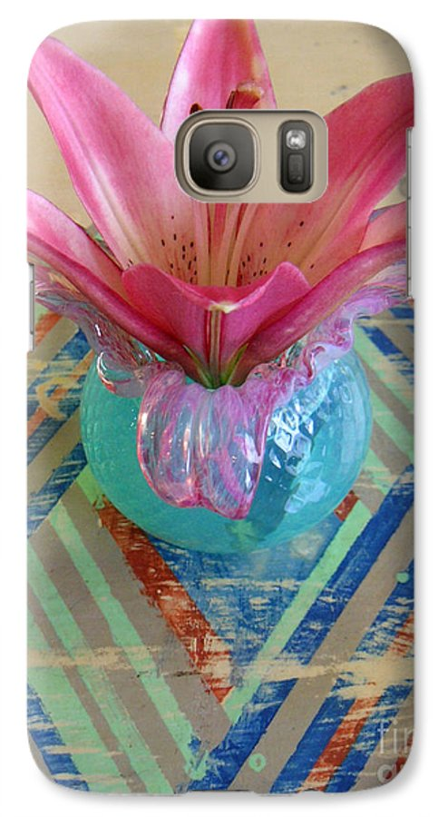Nature Galaxy S7 Case featuring the photograph Lily On A Painted Table Too by Lucyna A M Green