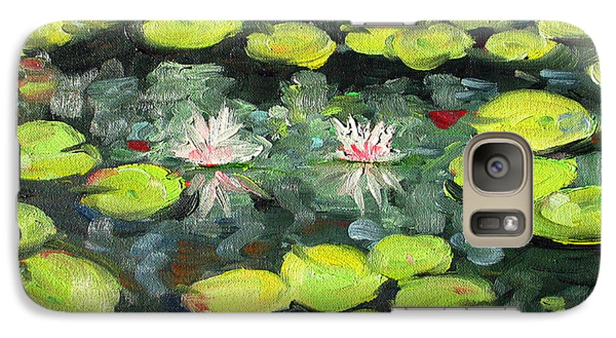 Pond Galaxy S7 Case featuring the painting Lily Pond by Paul Walsh