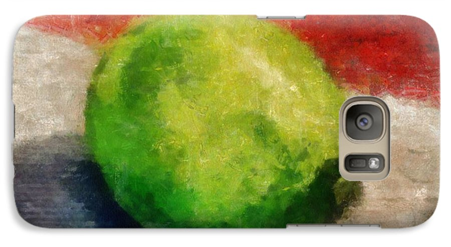 Lime Galaxy S7 Case featuring the painting Lime Still Life by Michelle Calkins