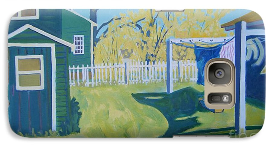 Backyard Galaxy S7 Case featuring the painting Line Of Wash by Debra Bretton Robinson