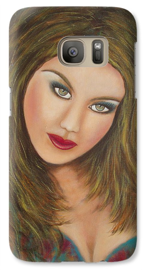 Portrait Galaxy S7 Case featuring the painting Lioness by Natalie Holland