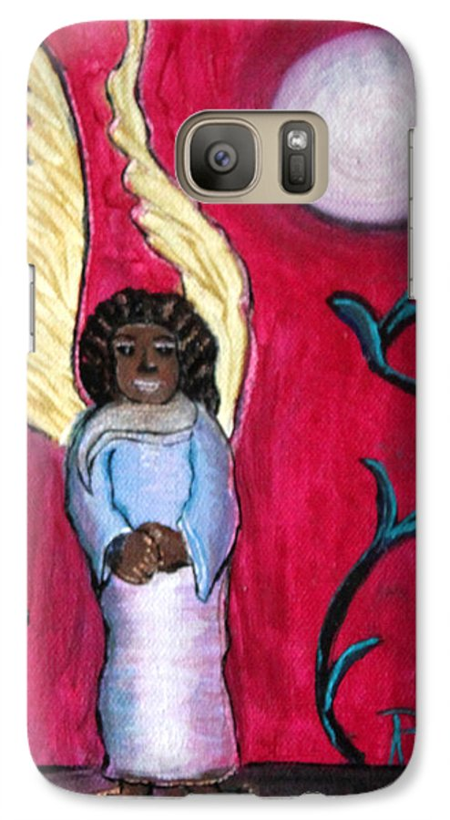 Beautiful Black Angel With Long Gold Wings Galaxy S7 Case featuring the painting Little Angel by Pilar Martinez-Byrne