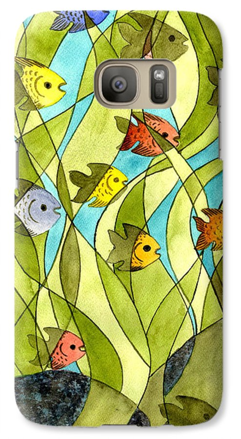 Fish Galaxy S7 Case featuring the painting Little Fish Big Pond by Catherine G McElroy