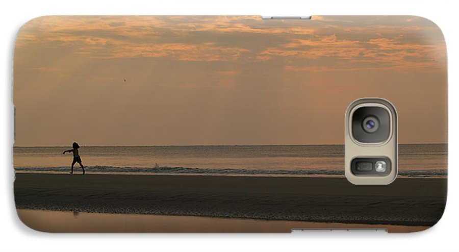 Sunrise Galaxy S7 Case featuring the photograph Little Girl In Hunting Island Sunrise by Anna Lisa Yoder