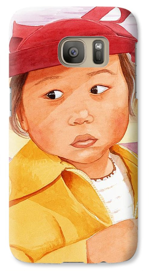 Little Japanese Girl In Red Hat Galaxy S7 Case featuring the painting Little Girl In Red Hat by Judy Swerlick