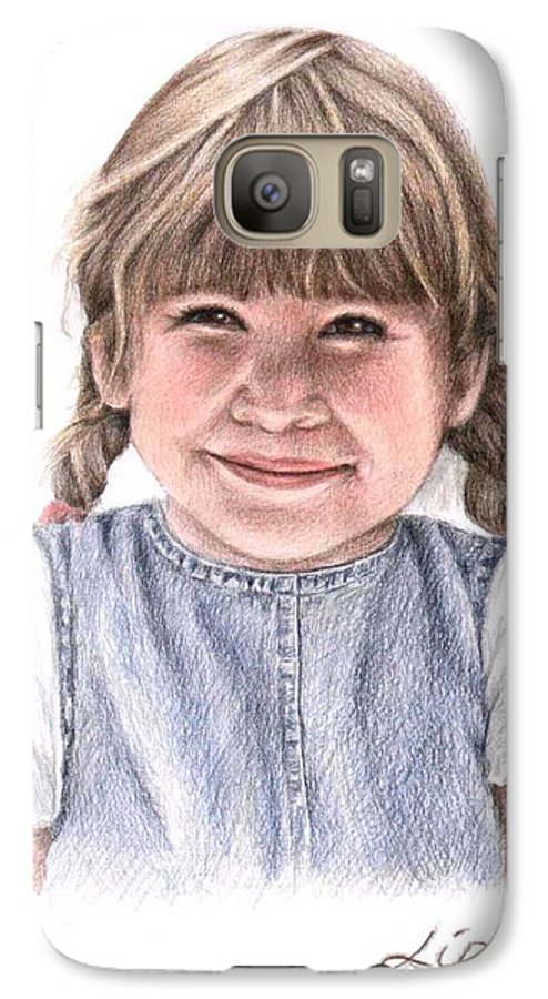 Girl Galaxy S7 Case featuring the drawing Little Girl by Nicole Zeug