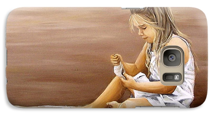 Children Girl Sea Shell Seascape Water Portrait Figurative Galaxy S7 Case featuring the painting Little Girl With Sea Shell by Natalia Tejera