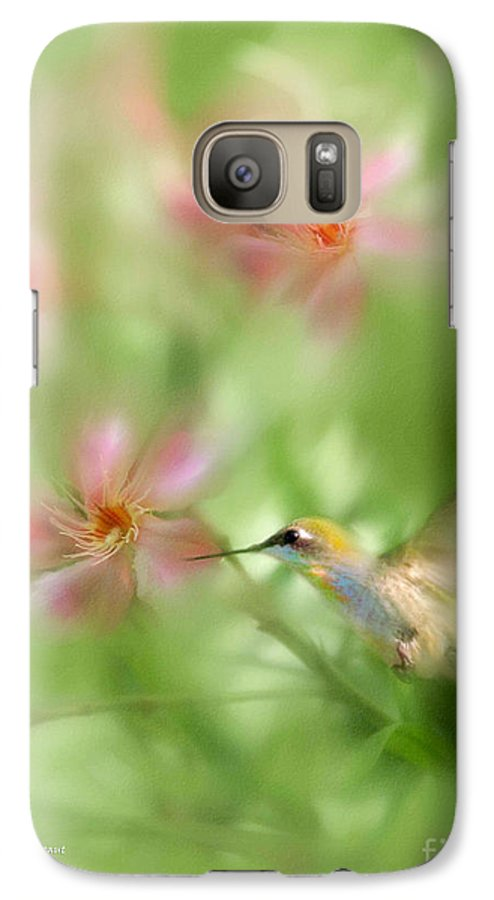 Garden Hummingbird Floral Green Tropical Oleander Galaxy S7 Case featuring the photograph Little Miracles by Carolyn Staut