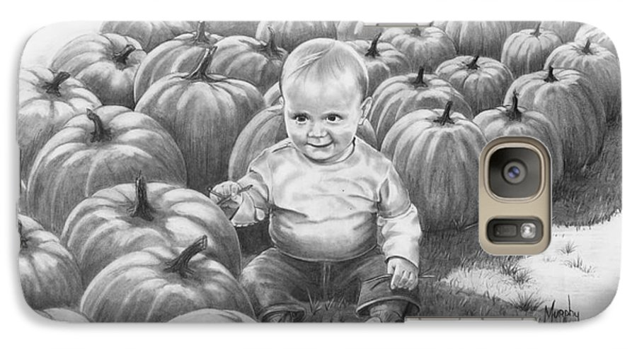 Charity Galaxy S7 Case featuring the drawing Little Pumpkin by Murphy Elliott