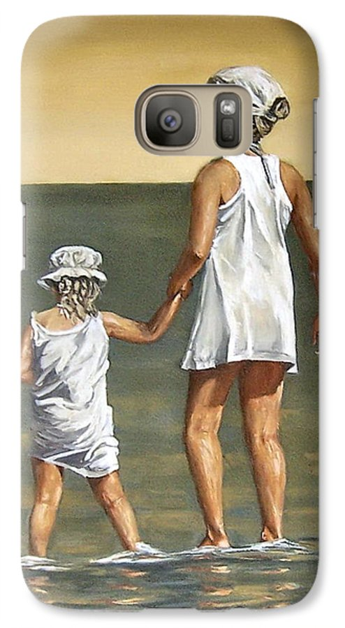 Little Girl Reflection Girls Kids Figurative Water Sea Seascape Children Portrait Galaxy S7 Case featuring the painting Little Sisters by Natalia Tejera