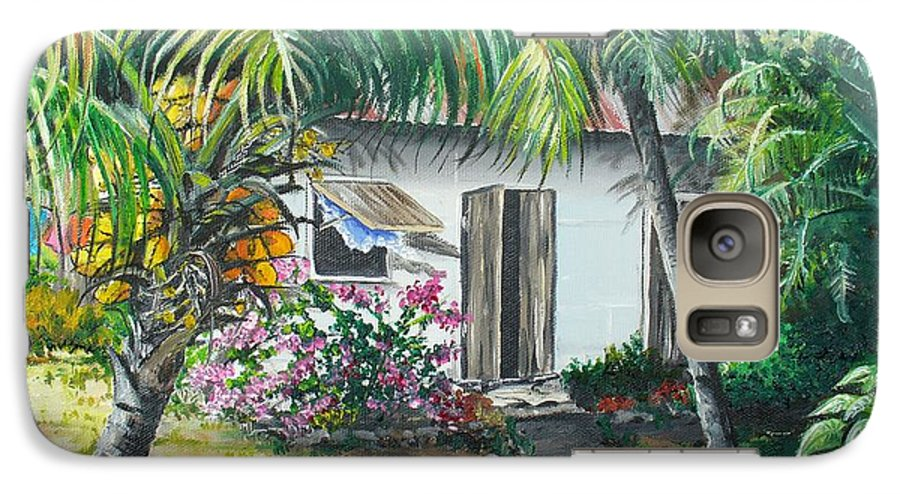 Caribbean Painting Typical Country House In Trinidad And The Islands With Coconut Tree Tropical Painting Galaxy S7 Case featuring the painting Little West Indian House 2...sold by Karin Dawn Kelshall- Best