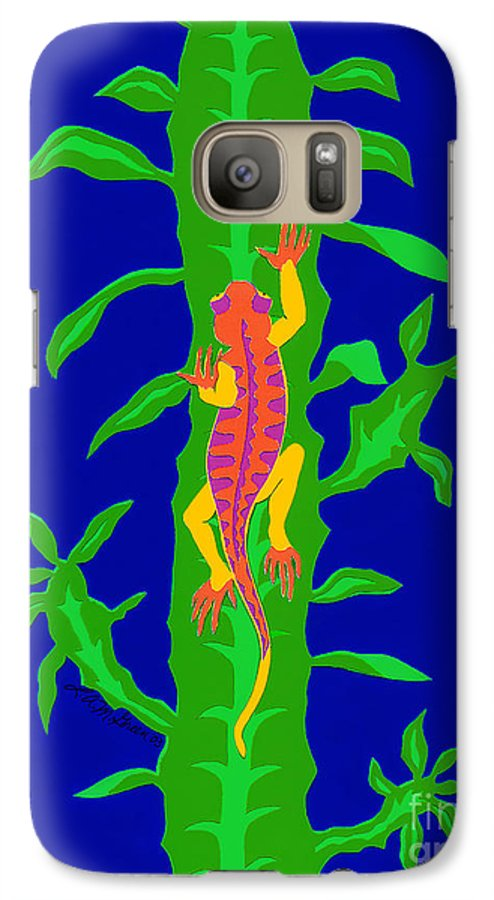 Nature Galaxy S7 Case featuring the drawing Lizard And Cactus by Lucyna A M Green