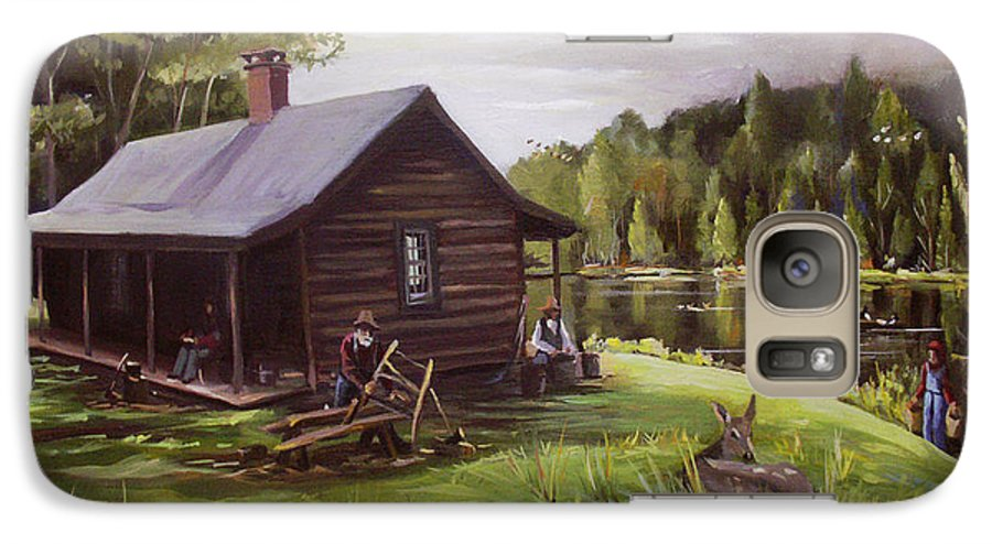 Log Cabin Galaxy S7 Case featuring the painting Log Cabin By The Lake by Nancy Griswold