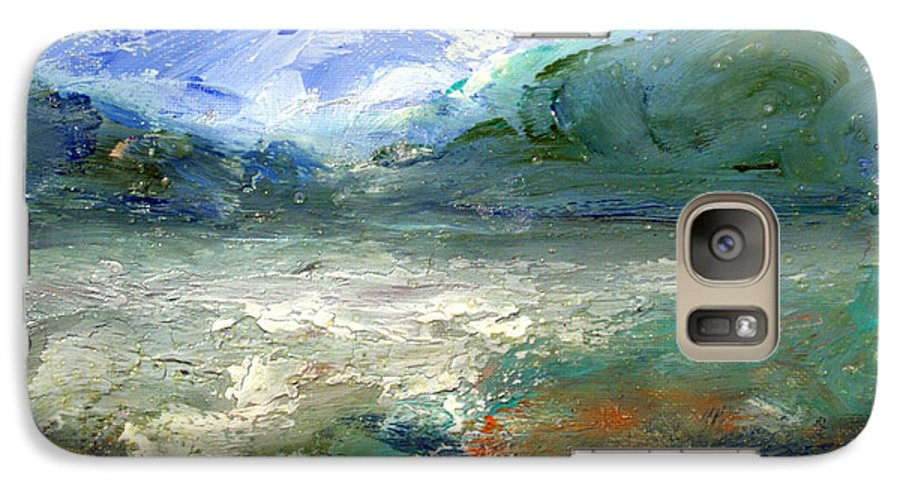 Lake Galaxy S7 Case featuring the painting Lombard Lake by Mario Zampedroni